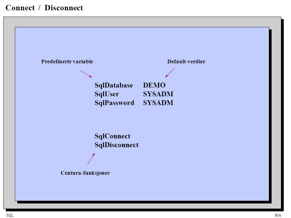 SQLHiA Connect / Disconnect SqlDatabaseDEMO SqlUserSYSADM SqlPasswordSYSADM SqlConnect SqlDisconnect Predefinerte variableDefault-verdier Centura-funksjoner