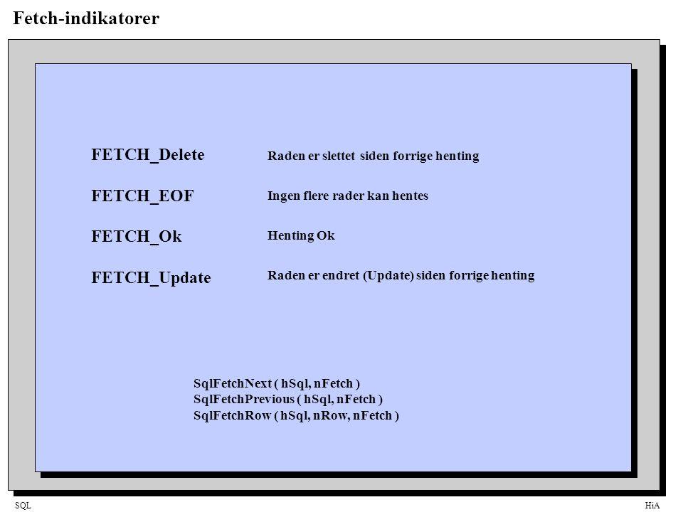 SQLHiA Fetch-indikatorer FETCH_Delete FETCH_EOF FETCH_Ok FETCH_Update Raden er slettet siden forrige henting Ingen flere rader kan hentes Henting Ok Raden er endret (Update) siden forrige henting SqlFetchNext ( hSql, nFetch ) SqlFetchPrevious ( hSql, nFetch ) SqlFetchRow ( hSql, nRow, nFetch )