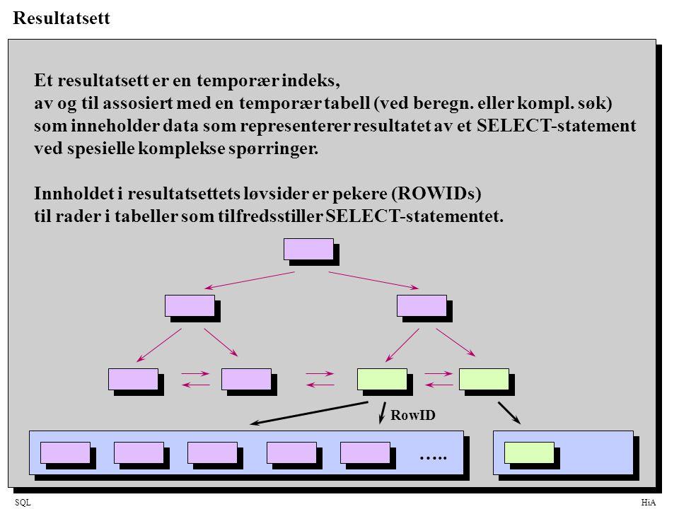 SQLHiA Resultatsett Et resultatsett er en temporær indeks, av og til assosiert med en temporær tabell (ved beregn.
