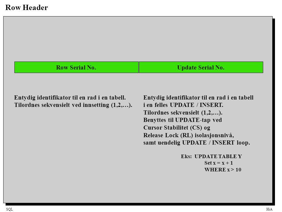 SQLHiA Row Header Row Serial No. Entydig identifikator til en rad i en tabell.