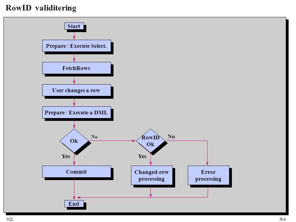 SQLHiA RowID validitering Start Ok Prepare / Execute Select.