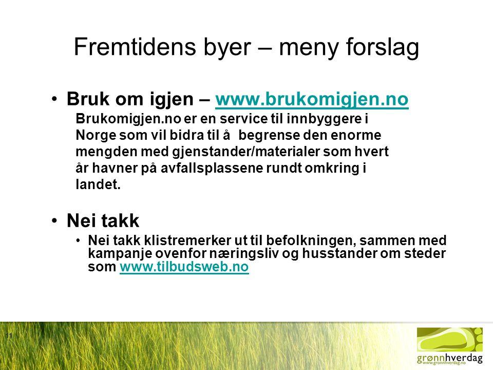 11 Fremtidens byer – meny forslag •Bruk om igjen – www.brukomigjen.nowww.brukomigjen.no Brukomigjen.no er en service til innbyggere i Norge som vil bi