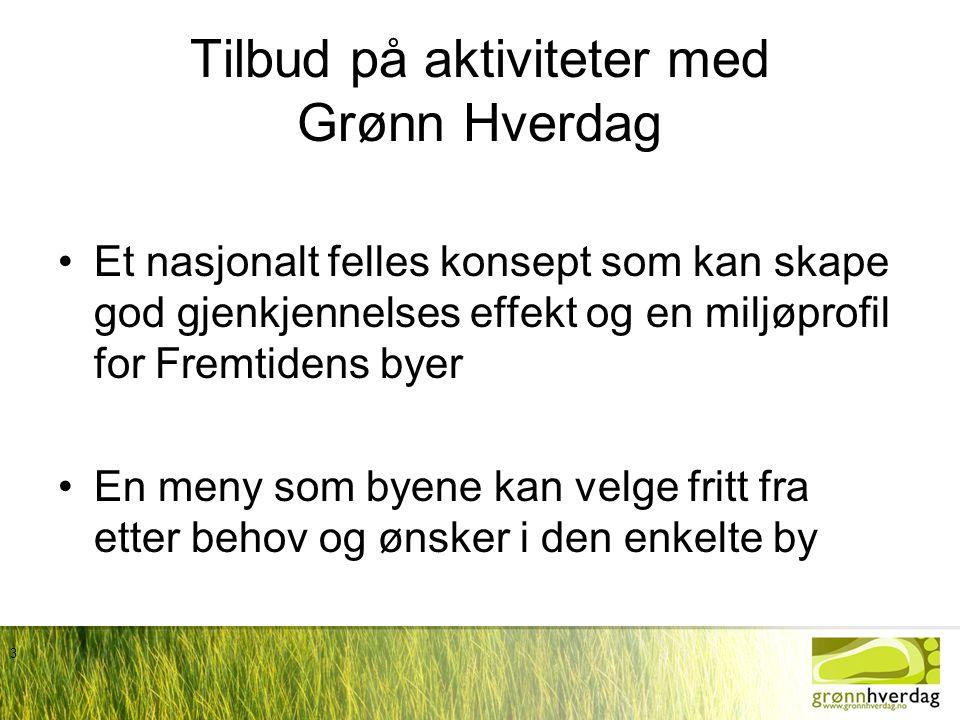3 Tilbud på aktiviteter med Grønn Hverdag •Et nasjonalt felles konsept som kan skape god gjenkjennelses effekt og en miljøprofil for Fremtidens byer •