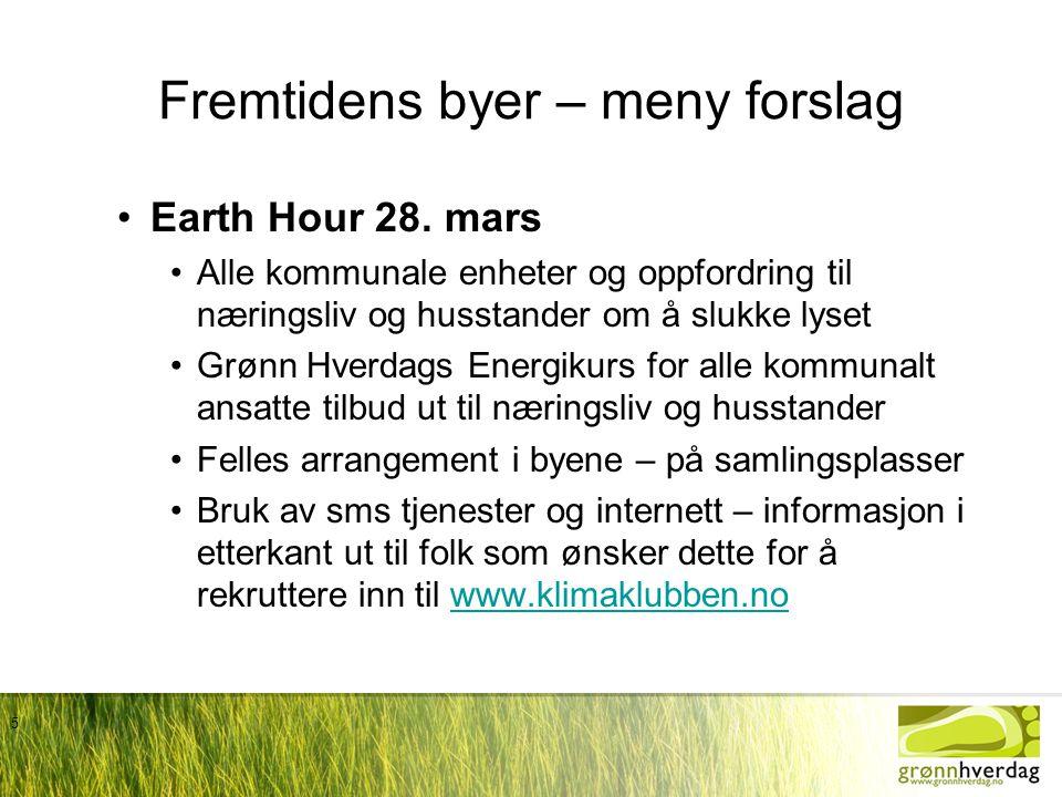5 Fremtidens byer – meny forslag •Earth Hour 28. mars •Alle kommunale enheter og oppfordring til næringsliv og husstander om å slukke lyset •Grønn Hve