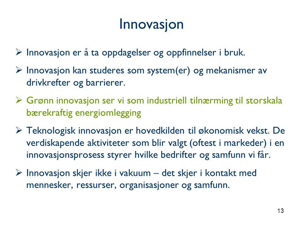 13  Innovasjon er å ta oppdagelser og oppfinnelser i bruk.