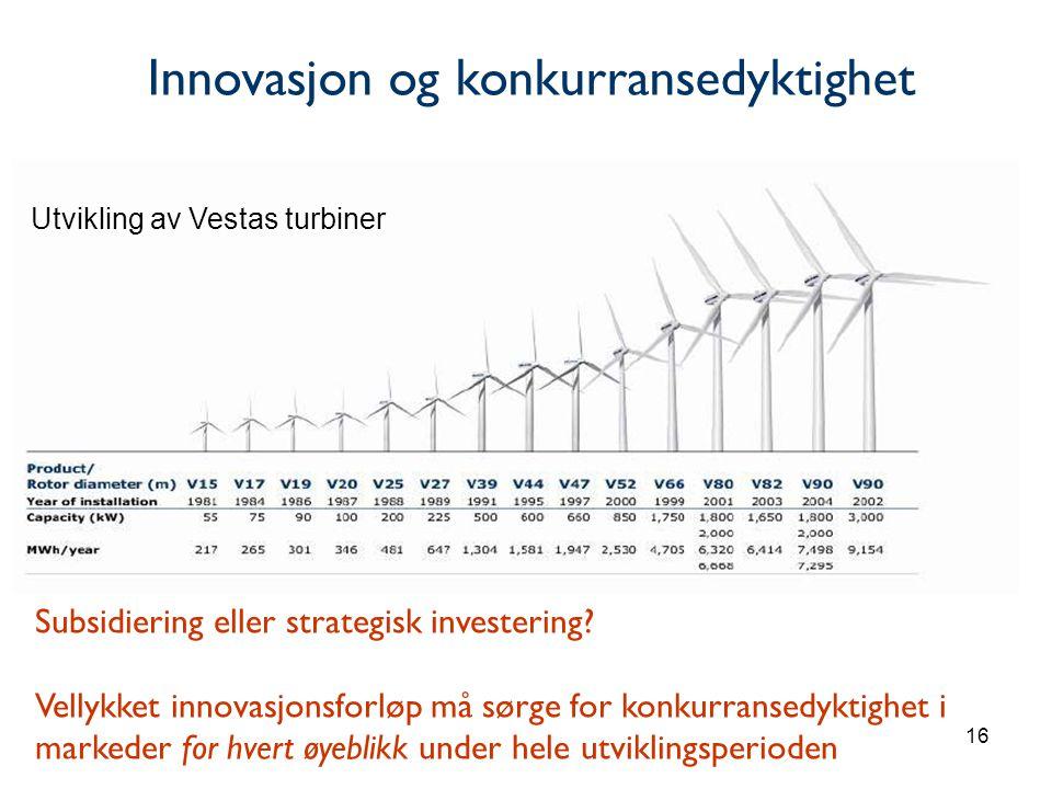 16 Utvikling av Vestas turbiner Subsidiering eller strategisk investering.