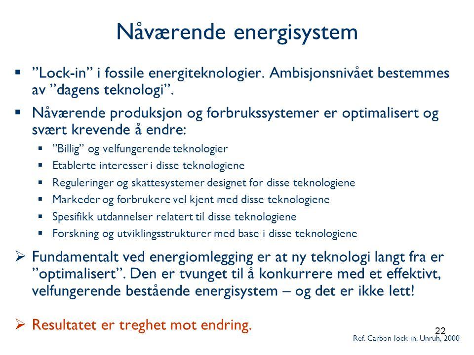 22 Nåværende energisystem  Lock-in i fossile energiteknologier.