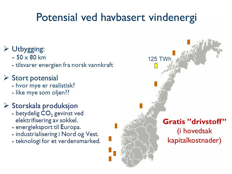25  Utbygging: - 50 x 80 km - tilsvarer energien fra norsk vannkraft  Stort potensial - hvor mye er realistisk.