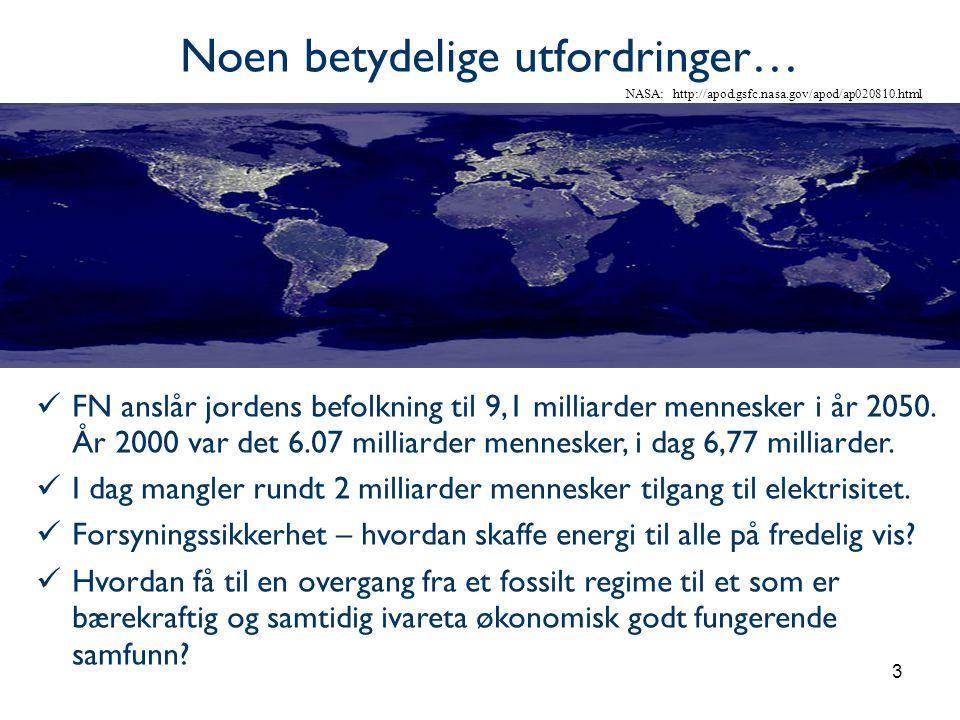 3 Noen betydelige utfordringer… NASA: http://apod.gsfc.nasa.gov/apod/ap020810.html  FN anslår jordens befolkning til 9,1 milliarder mennesker i år 2050.