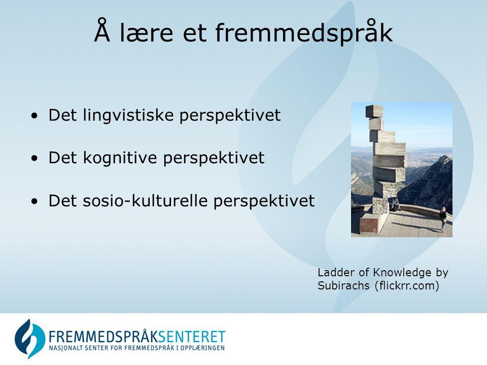Å lære et fremmedspråk •Det lingvistiske perspektivet •Det kognitive perspektivet •Det sosio-kulturelle perspektivet Ladder of Knowledge by Subirachs