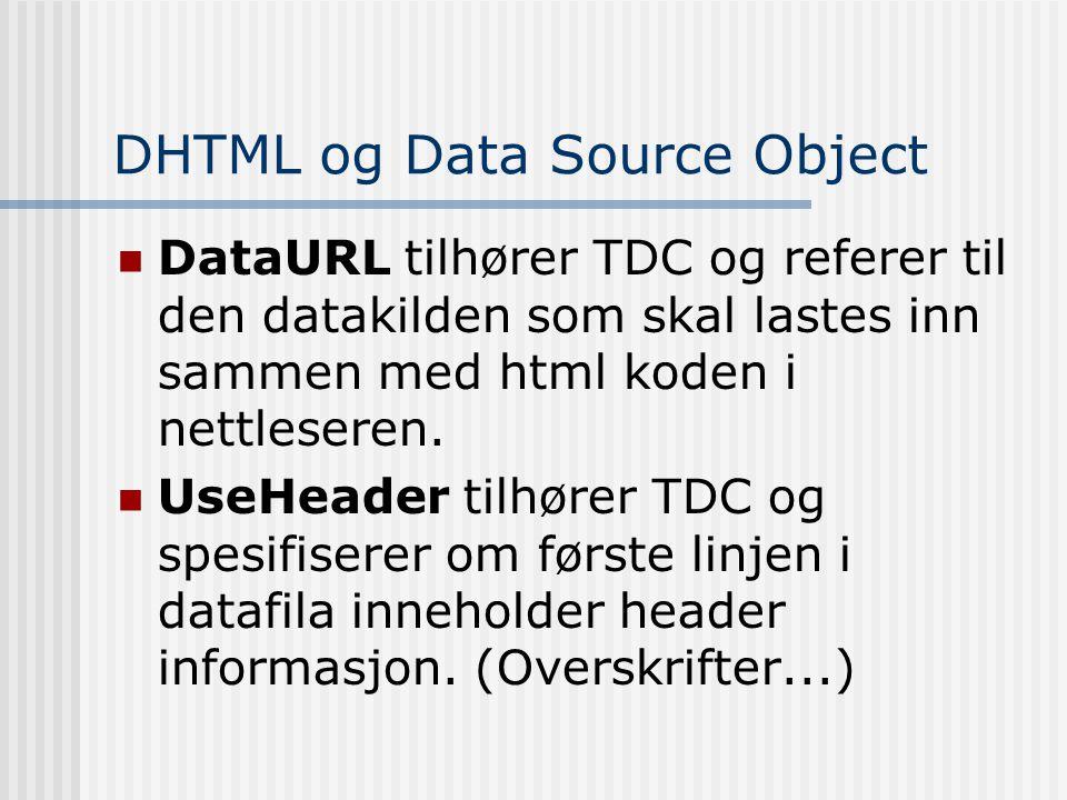 DHTML og Data Source Object  DataURL tilhører TDC og referer til den datakilden som skal lastes inn sammen med html koden i nettleseren.  UseHeader