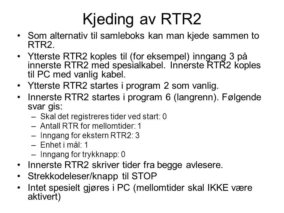 Kjeding av RTR2 •Som alternativ til samleboks kan man kjede sammen to RTR2.
