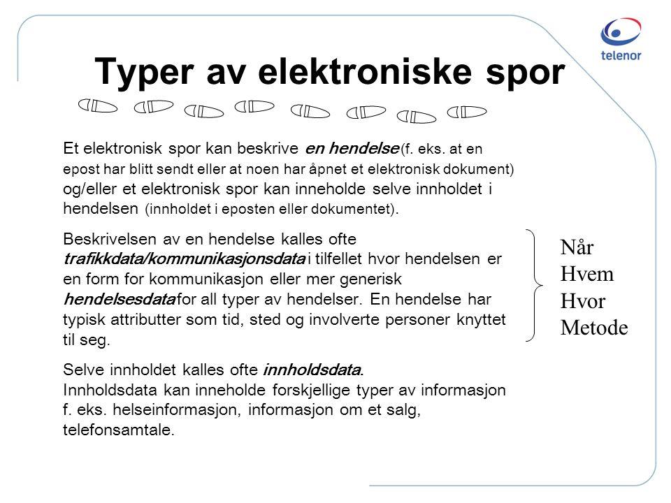 "Noen grunnprinsipper Ref også: ""Elektroniske Spor"" Norsk Regnesentral, 2005 http://publications.nr.no/elektroniske_spor.pdf"