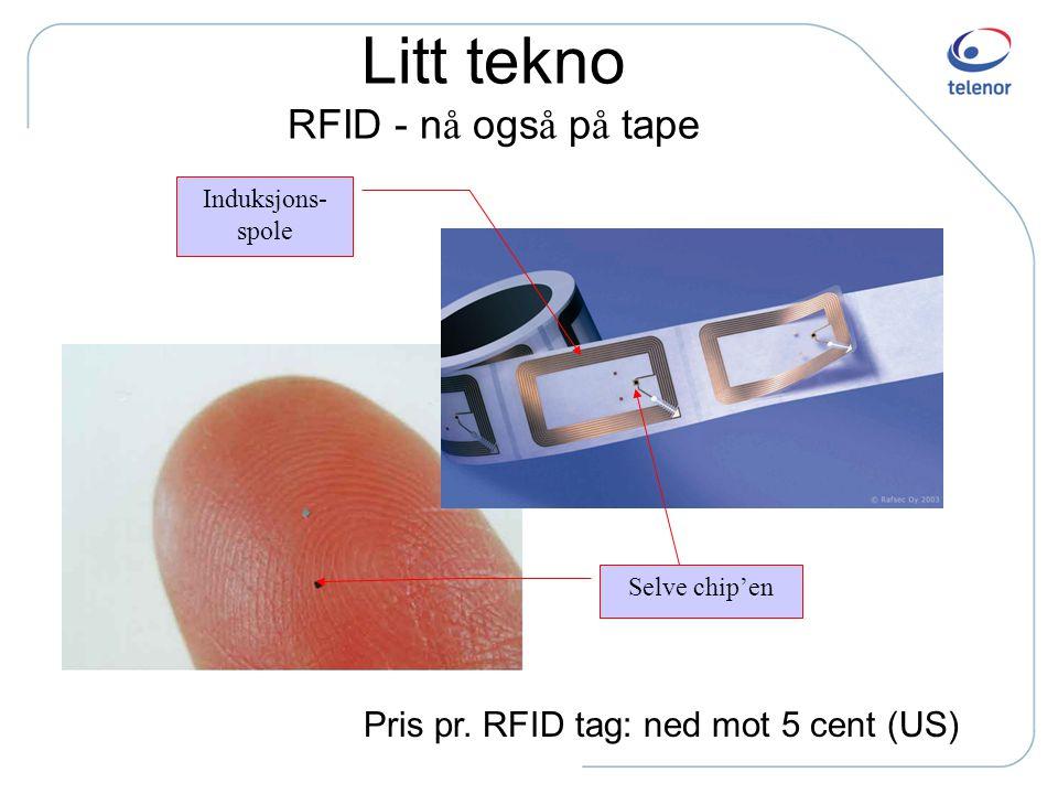 Virkem å te – passiv RFID 1. RFID tag'en kommer nær et kontaktpunkt 2. Kontaktpunktet induserer magnetfelt (til trådsløyfen i tag'en) 3. Trådsløyfen g