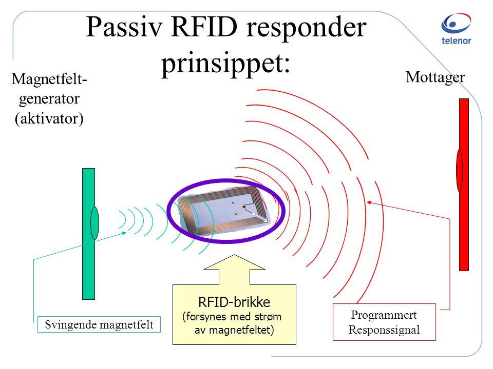 Litt tekno RFID - n å ogs å p å tape Pris pr. RFID tag: ned mot 5 cent (US) Induksjons- spole Selve chip'en