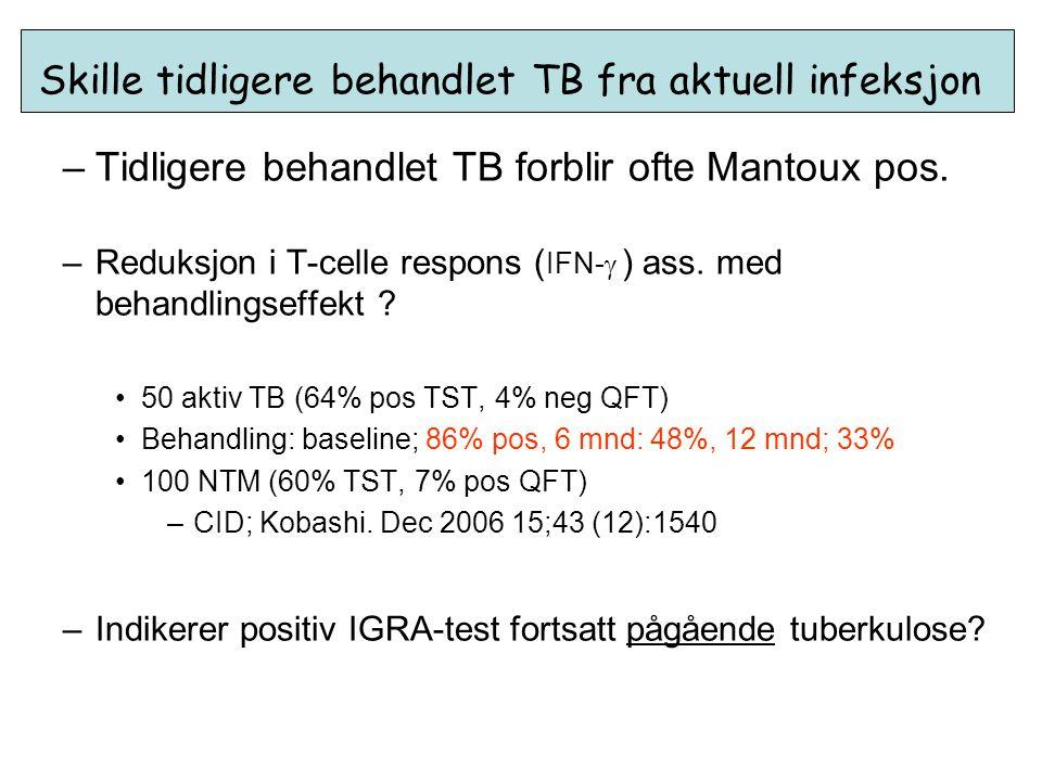 Skille tidligere behandlet TB fra aktuell infeksjon –Tidligere behandlet TB forblir ofte Mantoux pos. –Reduksjon i T-celle respons ( IFN-  ) ass. med