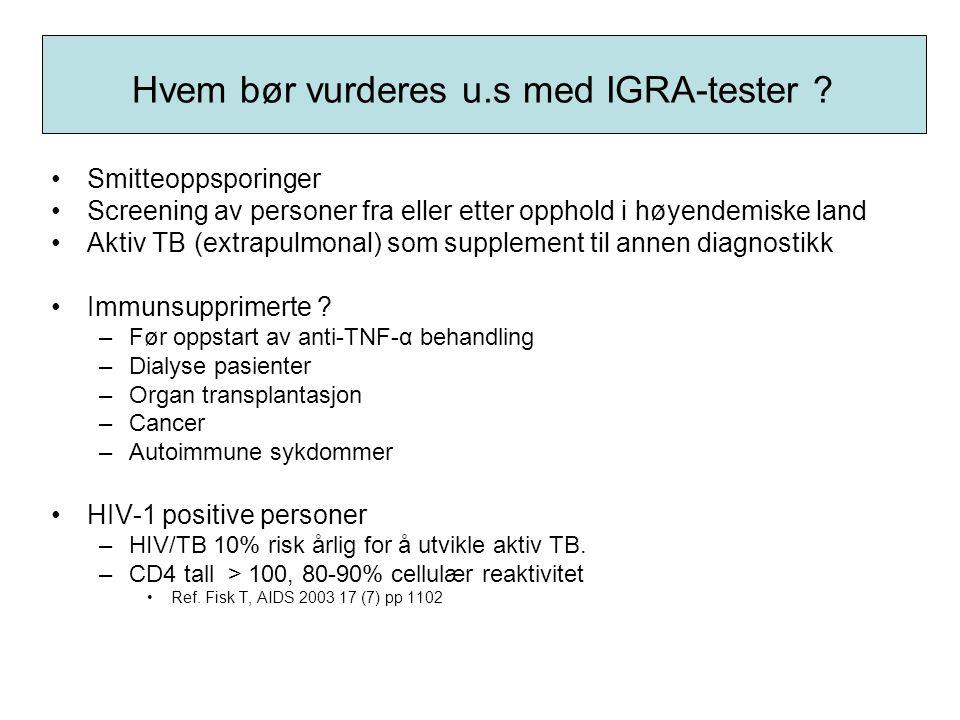 Hvem bør vurderes u.s med IGRA-tester ? •Smitteoppsporinger •Screening av personer fra eller etter opphold i høyendemiske land •Aktiv TB (extrapulmona