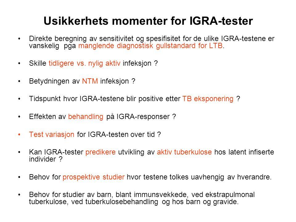 Usikkerhets momenter for IGRA-tester •Direkte beregning av sensitivitet og spesifisitet for de ulike IGRA-testene er vanskelig pga manglende diagnosti