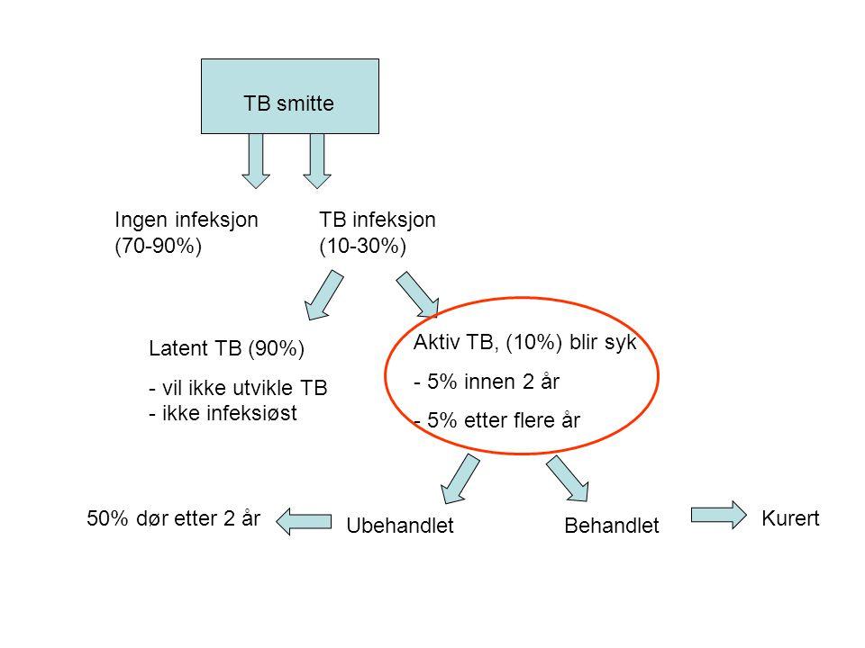 Kurert TB smitte Ubehandlet Aktiv TB, (10%) blir syk - 5% innen 2 år - 5% etter flere år Latent TB (90%) - vil ikke utvikle TB - ikke infeksiøst TB in