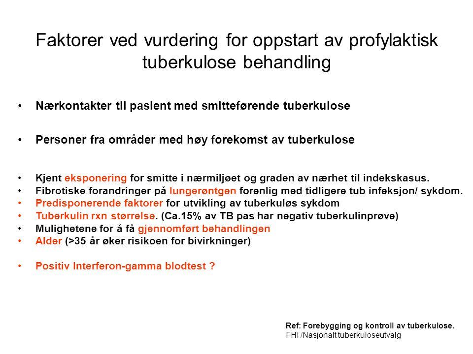 Faktorer ved vurdering for oppstart av profylaktisk tuberkulose behandling •Nærkontakter til pasient med smitteførende tuberkulose •Personer fra områd