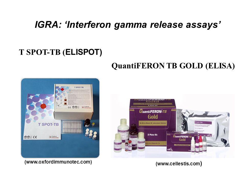 IGRA: 'Interferon gamma release assays' T SPOT-TB ( ELISPOT) QuantiFERON TB GOLD (ELISA) (www.cellestis.com ) (www.oxfordimmunotec.com)