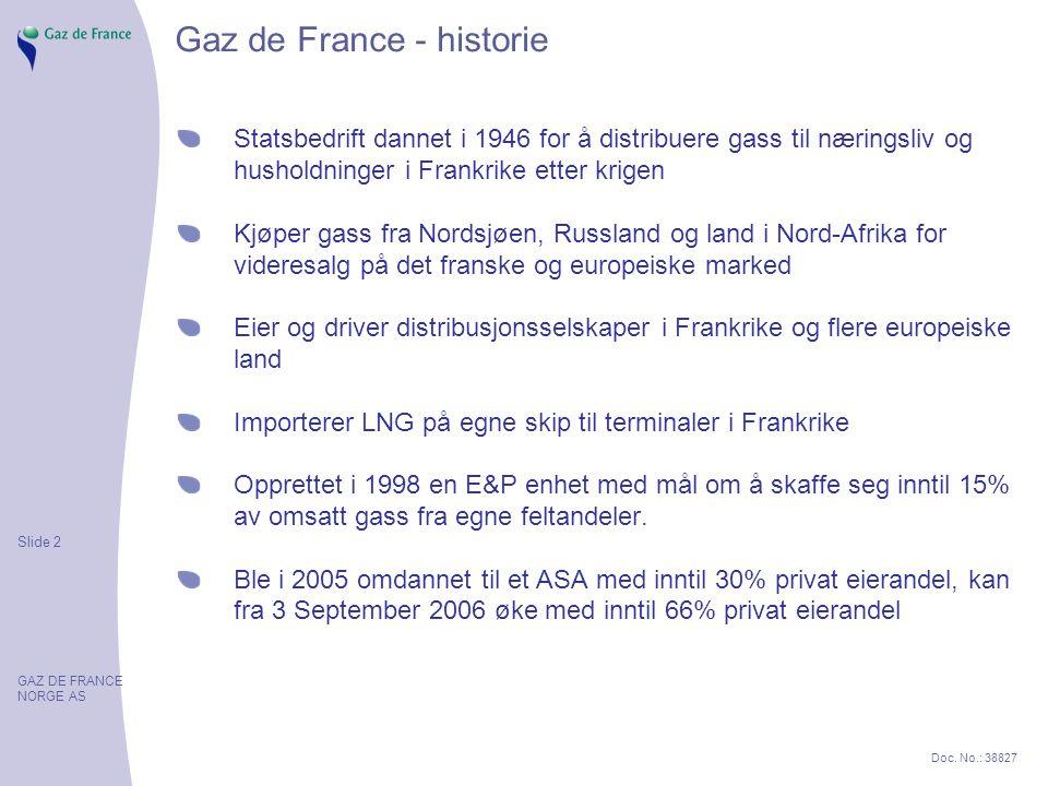 Slide 2 GAZ DE FRANCE NORGE AS Doc. No.: 38827 Gaz de France - historie Statsbedrift dannet i 1946 for å distribuere gass til næringsliv og husholdnin