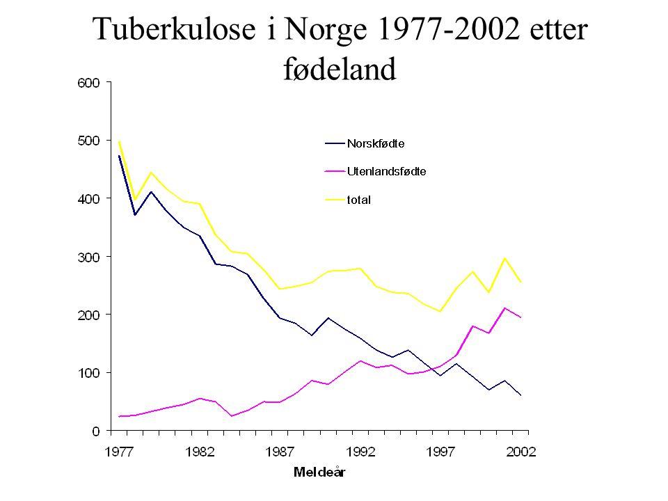 Tuberkulose i Norge 1977-2002 etter fødeland