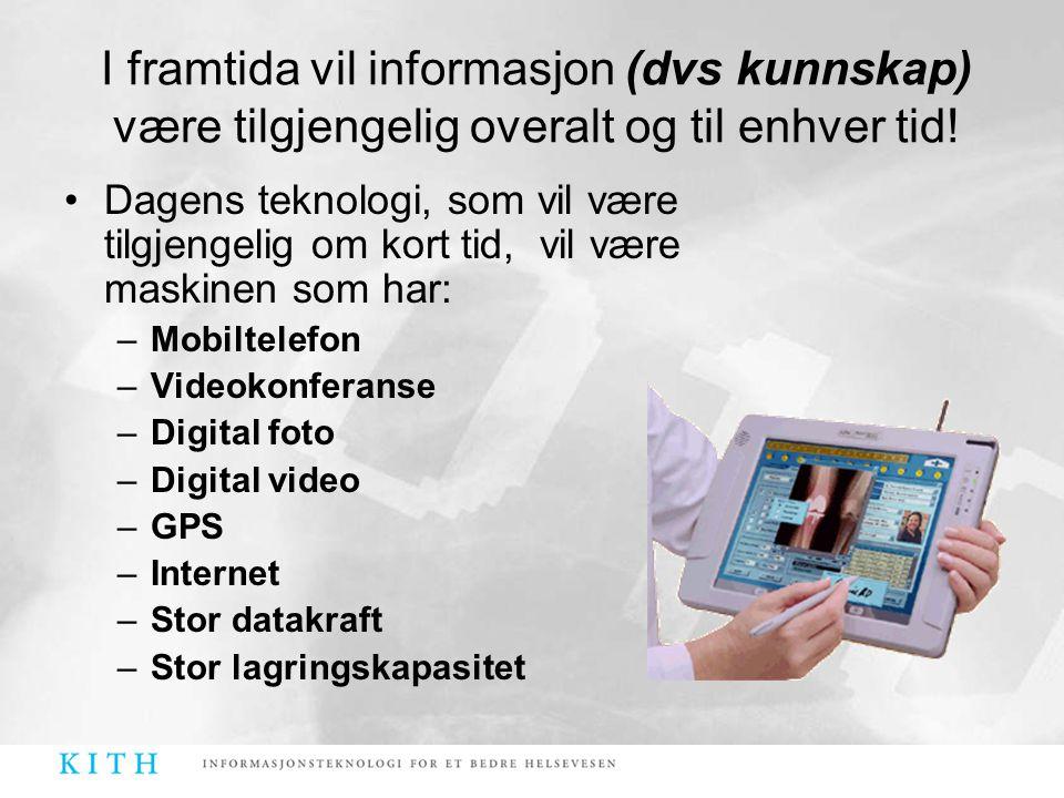 •Dagens teknologi, som vil være tilgjengelig om kort tid, vil være maskinen som har: –Mobiltelefon –Videokonferanse –Digital foto –Digital video –GPS