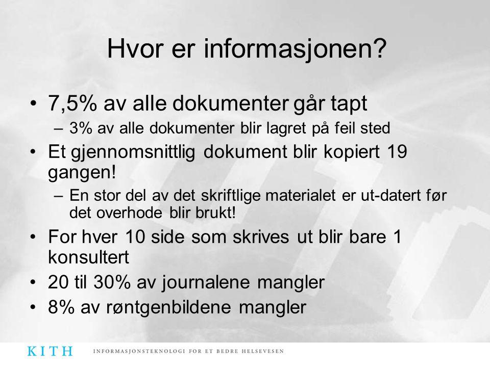 •7,5% av alle dokumenter går tapt –3% av alle dokumenter blir lagret på feil sted •Et gjennomsnittlig dokument blir kopiert 19 gangen! –En stor del av
