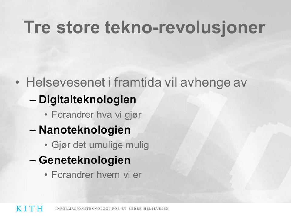 Tre store tekno-revolusjoner •Helsevesenet i framtida vil avhenge av –Digitalteknologien •Forandrer hva vi gjør –Nanoteknologien •Gjør det umulige mul