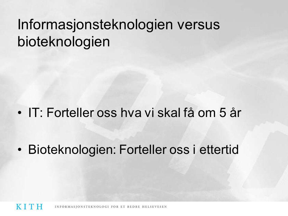Informasjonsteknologien versus bioteknologien •IT: Forteller oss hva vi skal få om 5 år •Bioteknologien: Forteller oss i ettertid