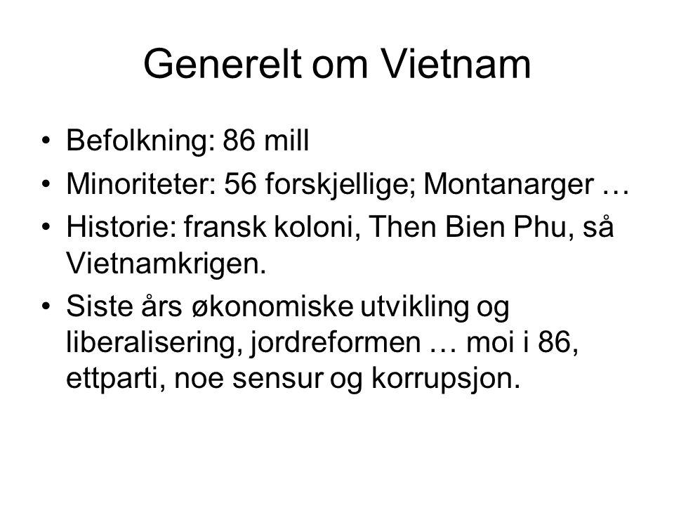 Generelt om Vietnam •Befolkning: 86 mill •Minoriteter: 56 forskjellige; Montanarger … •Historie: fransk koloni, Then Bien Phu, så Vietnamkrigen.