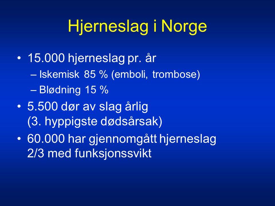 Hjerneslag i Norge •15.000 hjerneslag pr. år –Iskemisk 85 % (emboli, trombose) –Blødning 15 % •5.500 dør av slag årlig (3. hyppigste dødsårsak) •60.00