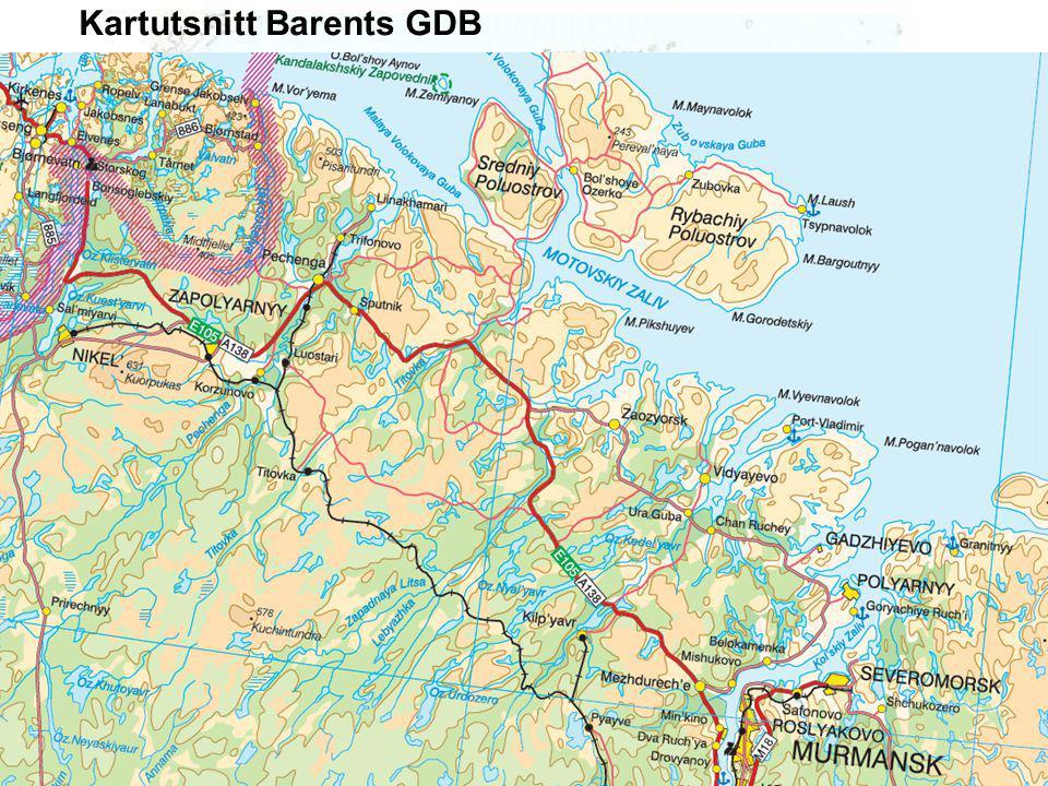 Tjenestebasert infrastruktur - karttjenester og innsynsløninger - Sweden Norway Finland Russia Map server OGC Web Mapping Interface (OGC WMS) OGC WMS Tematiske data GIT Barents Web-klient Andre Web- løsninger