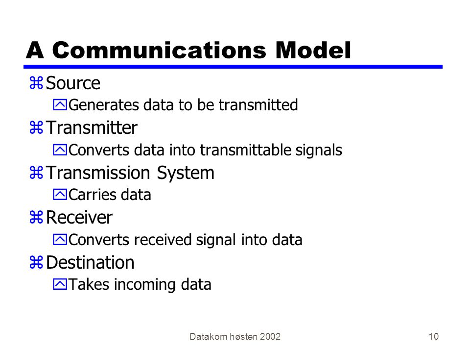 Datakom høsten 200210 A Communications Model zSource yGenerates data to be transmitted zTransmitter yConverts data into transmittable signals zTransmission System yCarries data zReceiver yConverts received signal into data zDestination yTakes incoming data