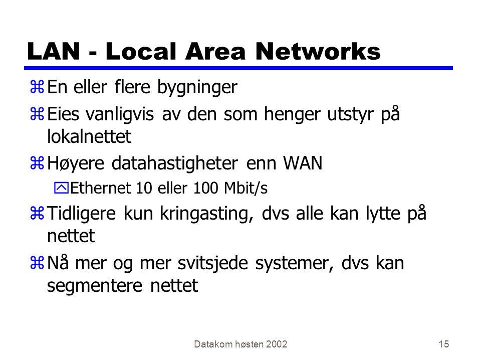 Datakom høsten 200215 LAN - Local Area Networks zEn eller flere bygninger zEies vanligvis av den som henger utstyr på lokalnettet zHøyere datahastighe