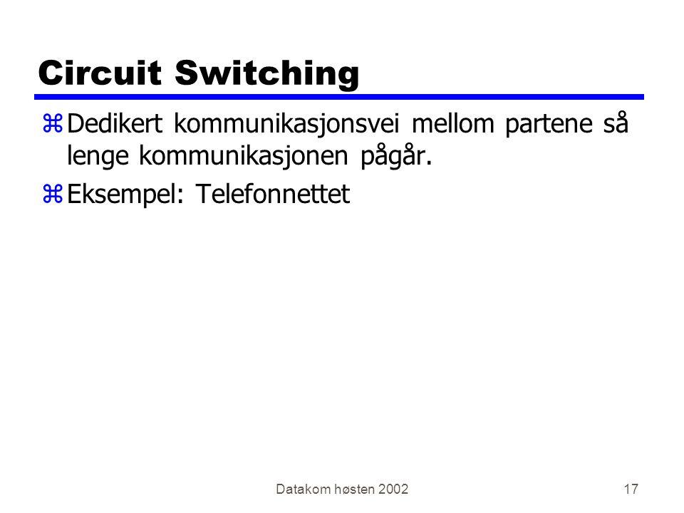 Datakom høsten 200217 Circuit Switching zDedikert kommunikasjonsvei mellom partene så lenge kommunikasjonen pågår. zEksempel: Telefonnettet