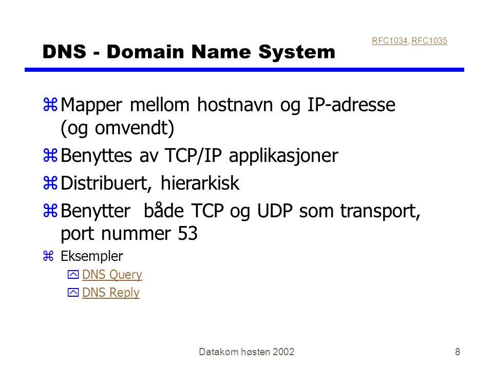 Datakom høsten 20028 DNS - Domain Name System zMapper mellom hostnavn og IP-adresse (og omvendt) zBenyttes av TCP/IP applikasjoner zDistribuert, hiera