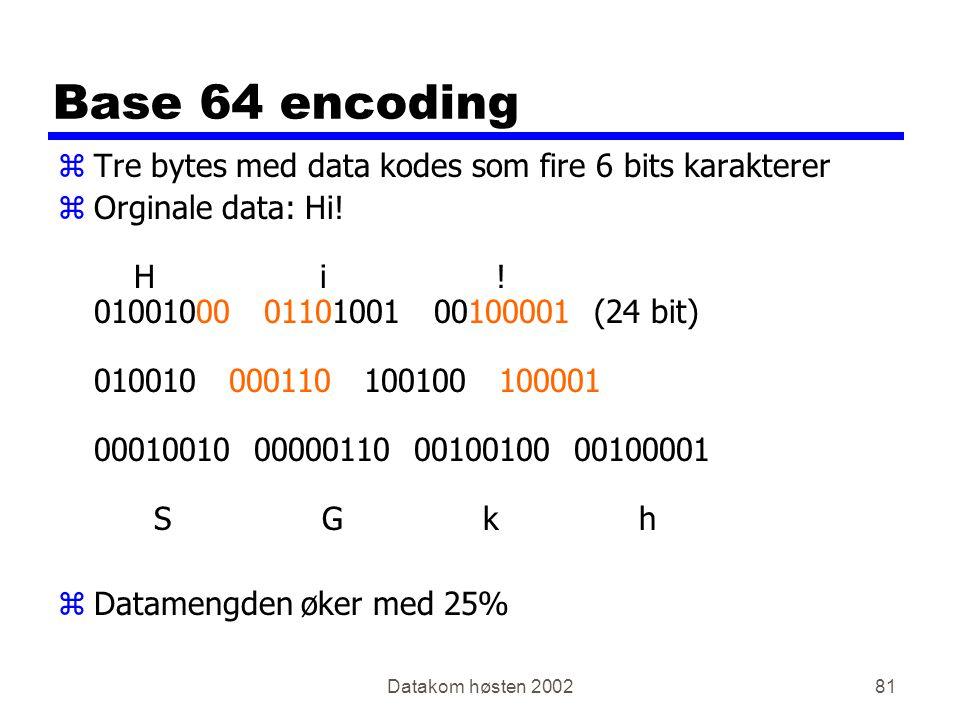 Datakom høsten 200281 Base 64 encoding zTre bytes med data kodes som fire 6 bits karakterer zOrginale data: Hi! H i ! 01001000 01101001 00100001 (24 b