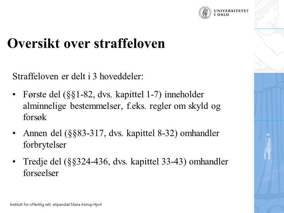 Institutt for offentlig rett, stipendiat Maria Astrup Hjort Oversikt over straffeloven Straffeloven er delt i 3 hoveddeler: •Første del (§§1-82, dvs.