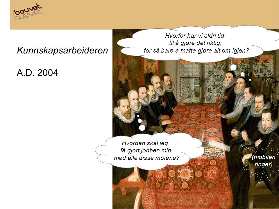 Kunnskapsarbeideren A.D. 2004 Hvordan skal jeg få gjort jobben min med alle disse møtene? Hvorfor har vi aldri tid til å gjøre det riktig, for så bare