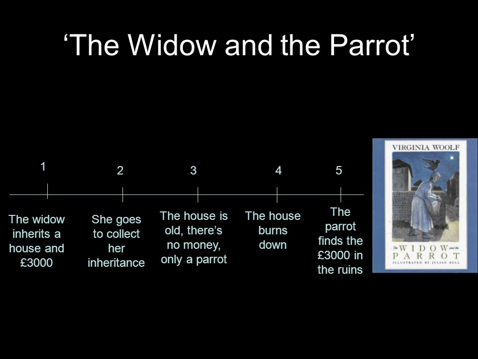 'The Widow and the Parrot' The widow inherits a house and £3000 She goes to collect her inheritance The house burns down The parrot finds the £3000 in
