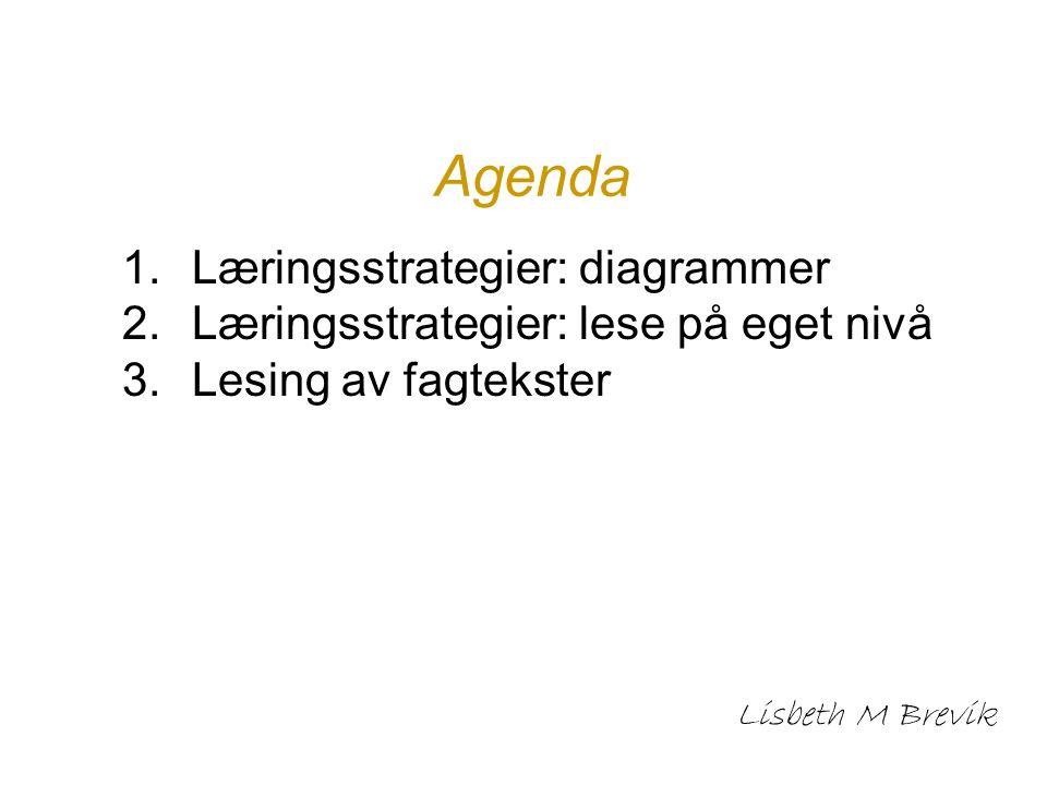 Agenda 1.Læringsstrategier: diagrammer 2.Læringsstrategier: lese på eget nivå 3.Lesing av fagtekster Lisbeth M Brevik