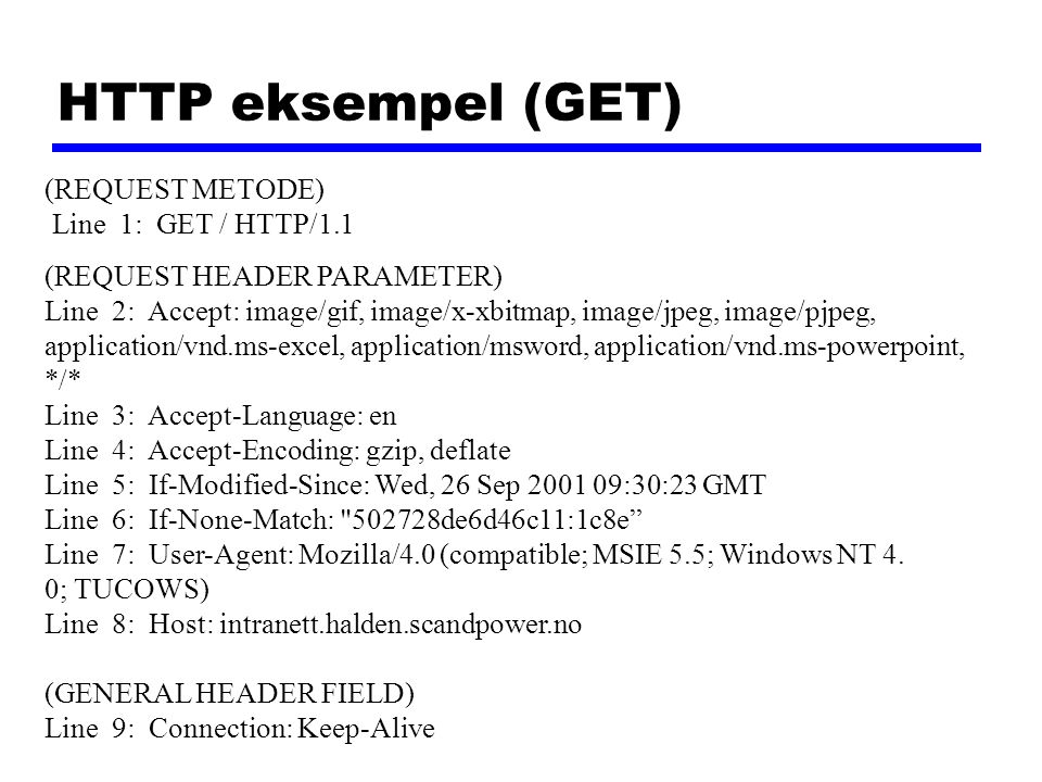 HTTP eksempel (GET) (REQUEST METODE) Line 1: GET / HTTP/1.1 (REQUEST HEADER PARAMETER) Line 2: Accept: image/gif, image/x-xbitmap, image/jpeg, image/pjpeg, application/vnd.ms-excel, application/msword, application/vnd.ms-powerpoint, */* Line 3: Accept-Language: en Line 4: Accept-Encoding: gzip, deflate Line 5: If-Modified-Since: Wed, 26 Sep 2001 09:30:23 GMT Line 6: If-None-Match: 502728de6d46c11:1c8e Line 7: User-Agent: Mozilla/4.0 (compatible; MSIE 5.5; Windows NT 4.