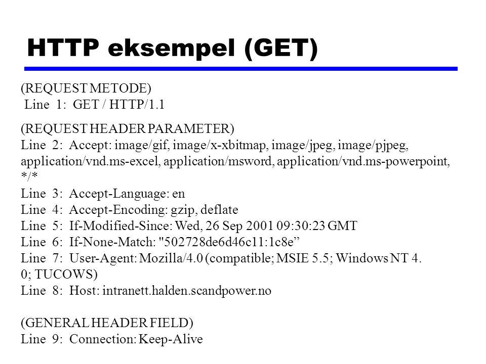 HTTP eksempel (GET) (REQUEST METODE) Line 1: GET / HTTP/1.1 (REQUEST HEADER PARAMETER) Line 2: Accept: image/gif, image/x-xbitmap, image/jpeg, image/p