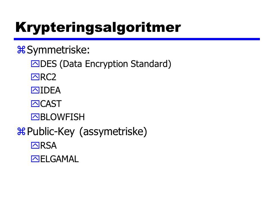 Krypteringsalgoritmer zSymmetriske: yDES (Data Encryption Standard) yRC2 yIDEA yCAST yBLOWFISH zPublic-Key (assymetriske) yRSA yELGAMAL