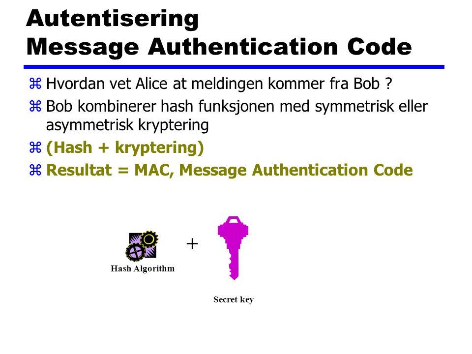 Autentisering Message Authentication Code zHvordan vet Alice at meldingen kommer fra Bob ? zBob kombinerer hash funksjonen med symmetrisk eller asymme