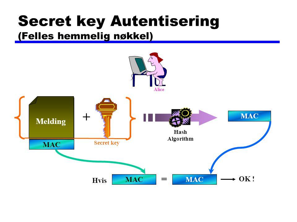 Secret key Autentisering (Felles hemmelig nøkkel) MAC Melding MAC Hvis = OK ! MAC Hash Algorithm Melding + Secret key Alice