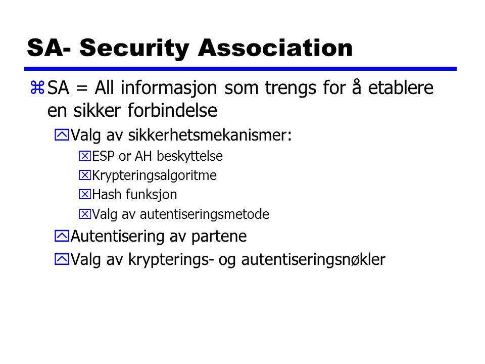 SA- Security Association zSA = All informasjon som trengs for å etablere en sikker forbindelse yValg av sikkerhetsmekanismer: xESP or AH beskyttelse x