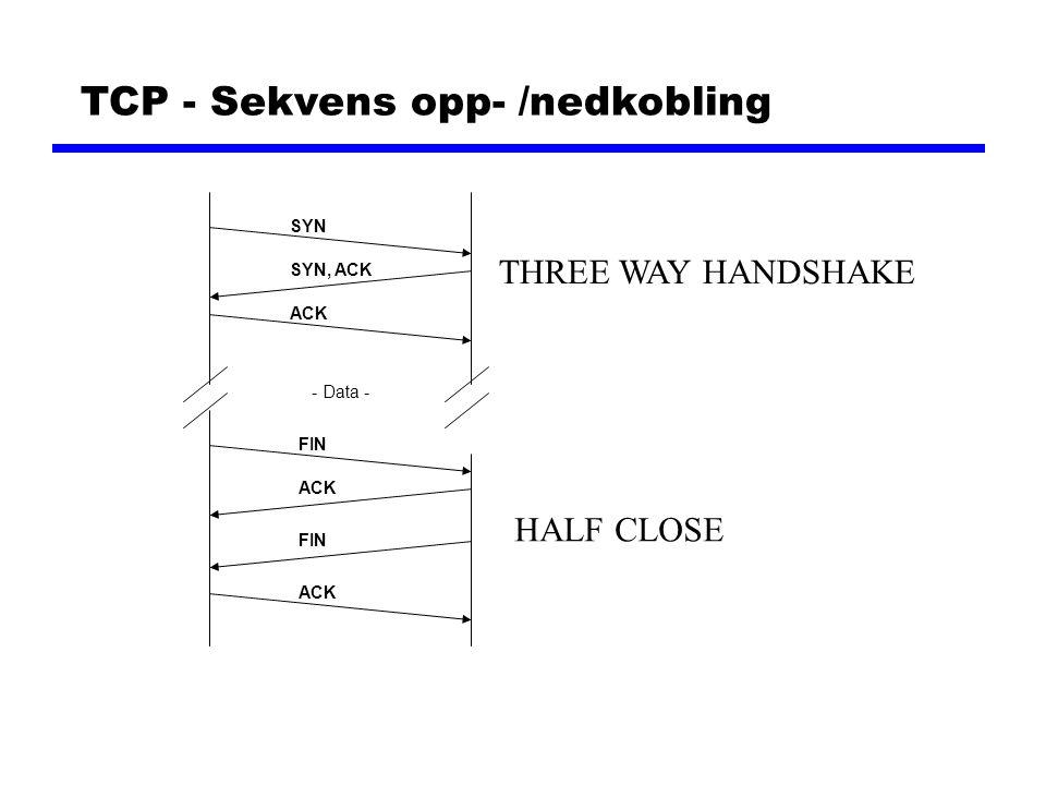 UDP - User Datagram Protocol UDP Header Source PortDestination Port UDP length UDP length = lengden av hele datagrammet UDP checksum UDP checksum = sjekksum av hele datagrammet